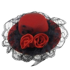 Accessories - Red Hat Fascinator  Retro style